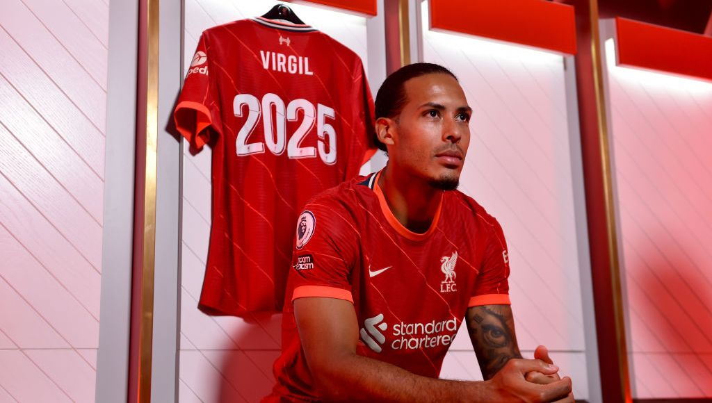KIRKBY, ENGLAND - AUGUST 13: (THE SUN OUT, THE SUN ON SUNDAY OUT) Virgil van Dijk of Liverpool after signing a new contact for Liverpool Football Club at Anfield on August 13, 2021 in Kirkby, England. (Photo by Andrew Powell/Liverpool FC via Getty Images)