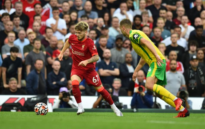 NORWICH, ENGLAND - AUGUST 14: (THE SUN OUT,THE SUN ON SUNDAY OUT) Harvey Elliott of Liverpool during the Premier League match between Norwich City and Liverpool at Carrow Road on August 14, 2021 in Norwich, England. (Photo by Andrew Powell/Liverpool FC via Getty Images)