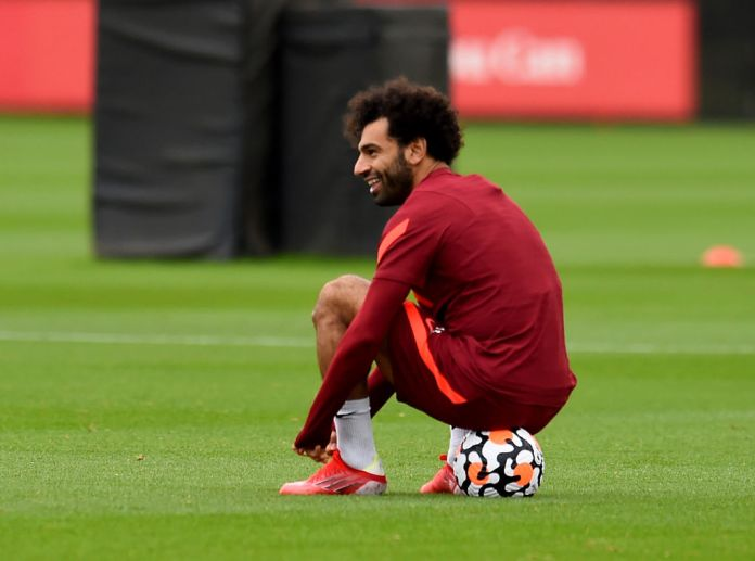 KIRKBY, ENGLAND - AUGUST 17: (THE SUN OUT, THE SUN ON SUNDAY OUT) Mohamed Salah of Liverpool during a training session at AXA Training Centre on August 17, 2021 in Kirkby, England. (Photo by Andrew Powell/Liverpool FC via Getty Images)