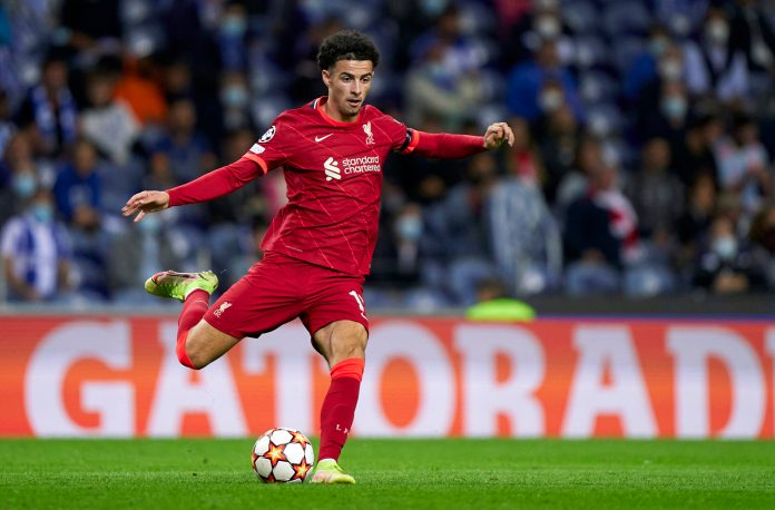 PORTO, PORTUGAL - SEPTEMBER 28: Curtis Jones of Liverpool FC in action during the UEFA Champions League group B match between FC Porto and Liverpool FC at Estadio do Dragao on September 28, 2021 in Porto, Portugal. (Photo by Jose Manuel Alvarez/Quality Sport Images/Getty Images)