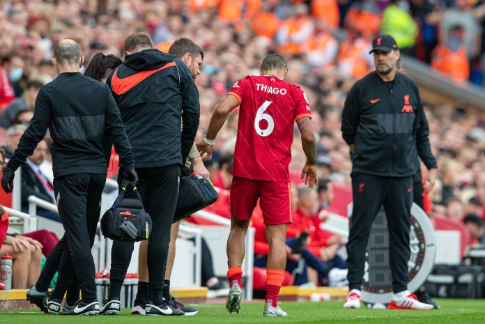 LIVERPOOL, ENGLAND - Saturday, September 18, 2021: Liverpool's Thiago Alcantara limps off with an injury during the FA Premier League match between Liverpool FC and Crystal Palace FC at Anfield. Liverpool won 3-0. (Pic by David Rawcliffe/Propaganda)