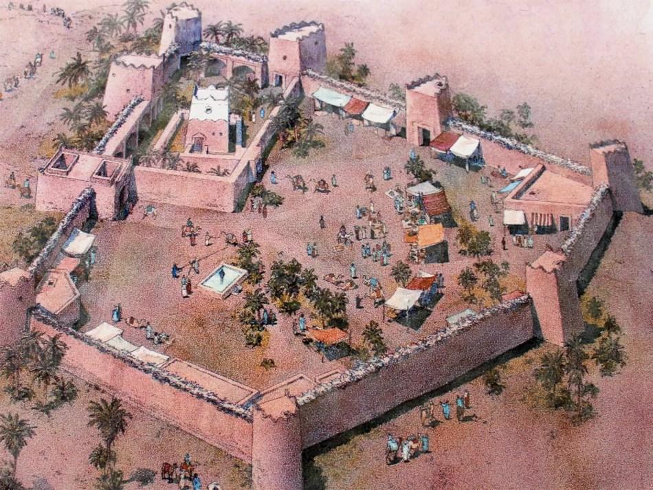 Ilustración de como pudo haber sido la ciudad perdida de Ubar.