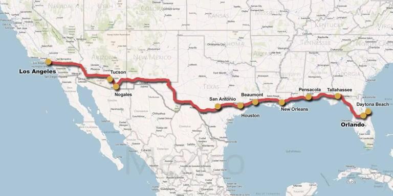 Viajar en auto de costa a costa en los EE.UU. en 4 minutos