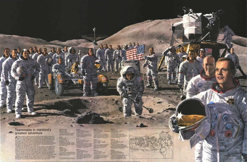 Ilustración mostrando a un grupo de astronautas en la superficie lunar.