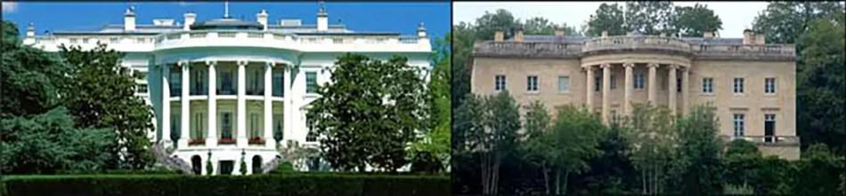 Fotografía de la Casa Blanca y el edifició en el cual se basó.