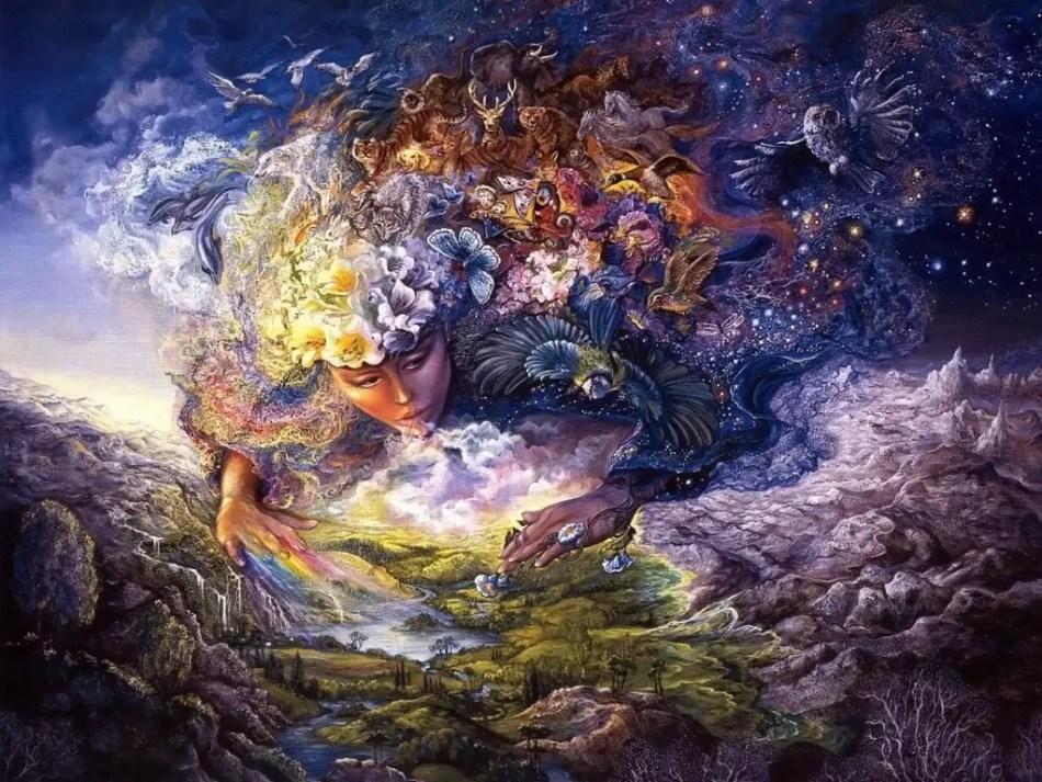 Imagen de la diosa griega Gaia y la creación del mundo.