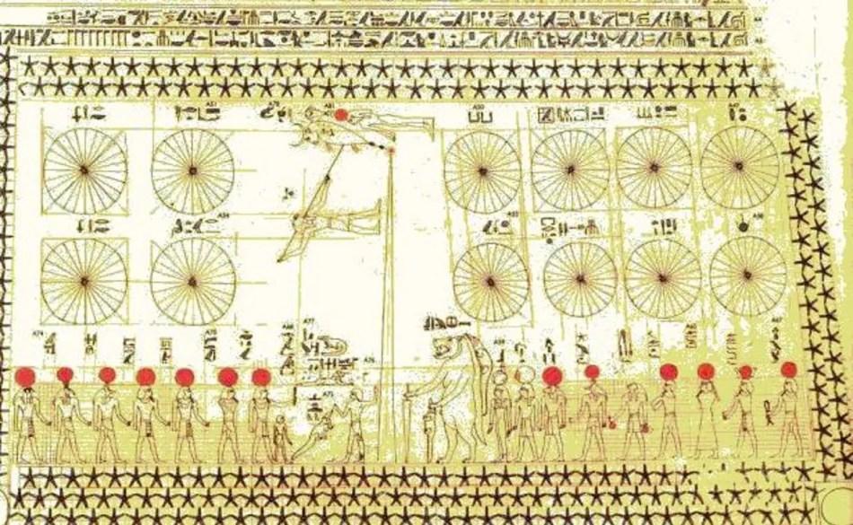 Imagen de un papiro astronómico egipcio.