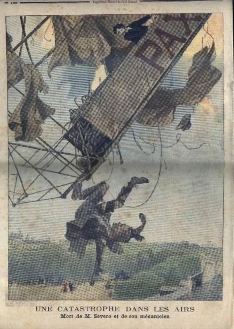 Ilustración de un hombre cayendo de un dirigible.