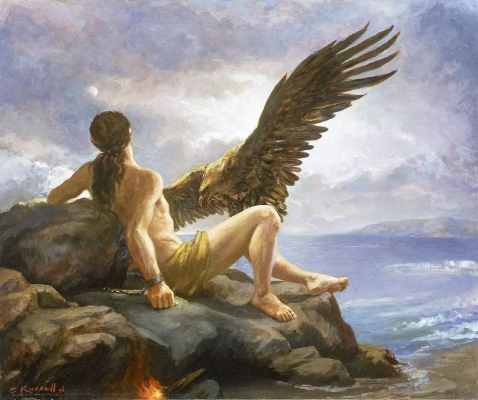Pintura de Prometeo siendo castigado.
