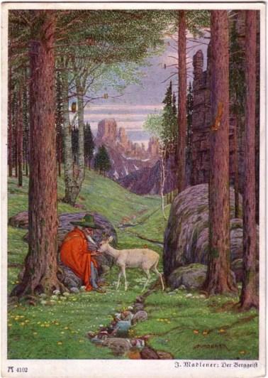 Ilustración de un hombre con un venado.