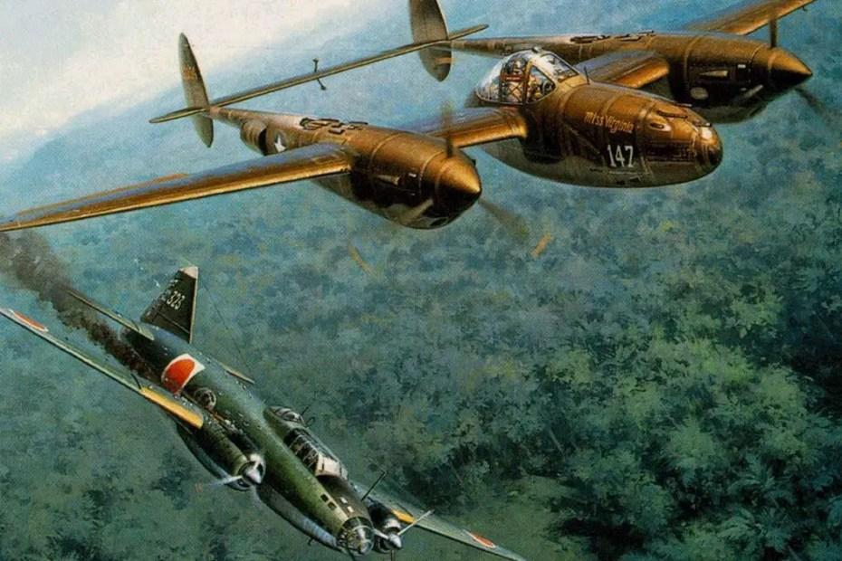 Ilustración de un combate aéreo.