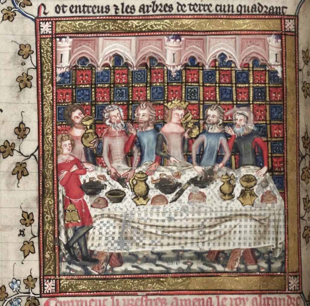Ilustración antigua de un banquete medieval.