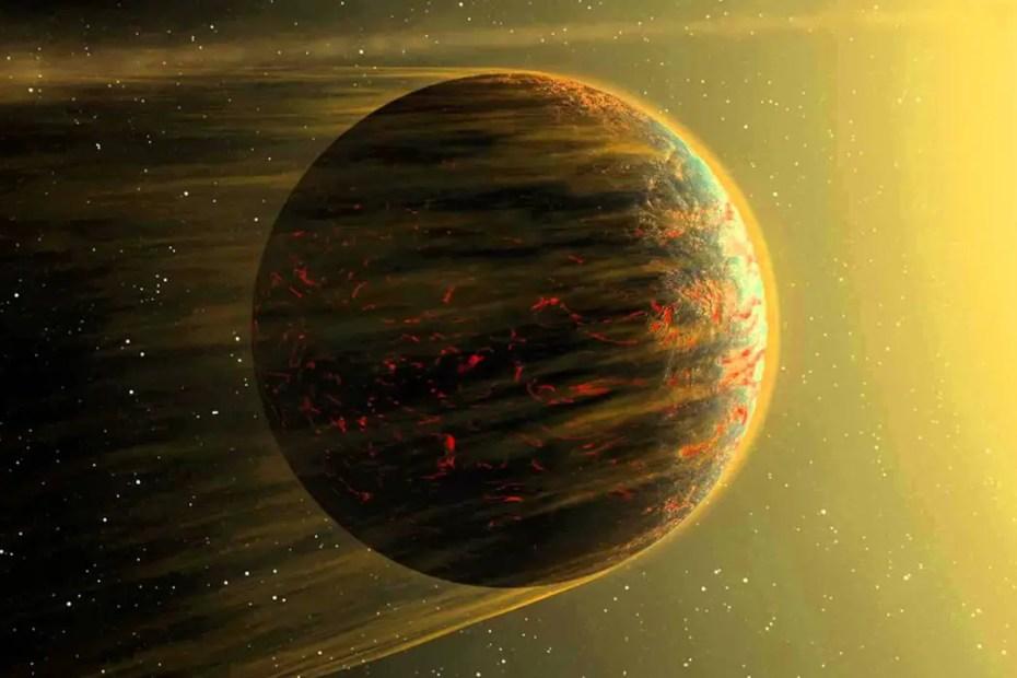 Ilustración de un posible planeta del sistema Cancri 55.