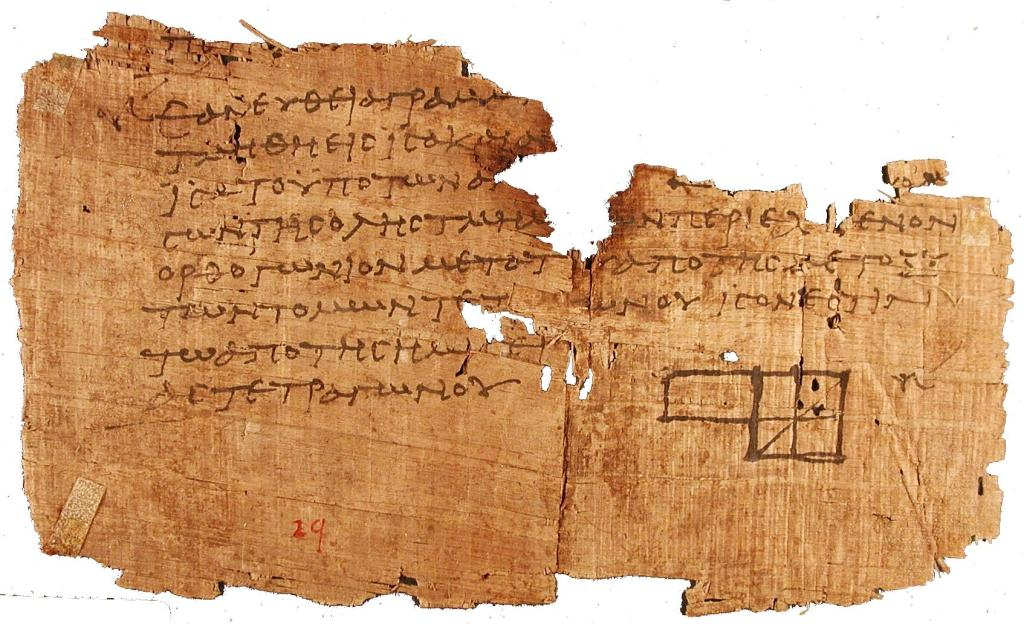 Fotografía de un papiro gruiego.