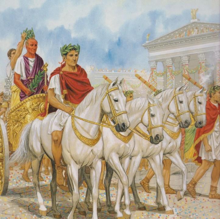 El triunfo de César, ilustración por Peter Connolly.