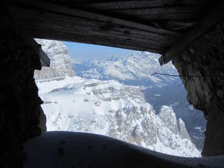 Fotografía con una vista desde el interior de Lagazuoi.