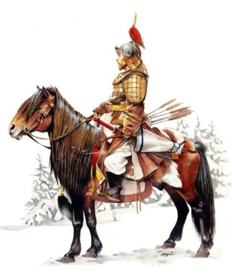 Ilustración de un jinete mongol. Muchos de los jinetes se volvieron mensajeros para el Kan.