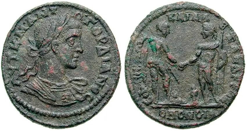 Fotografía de una moneda bizantina.