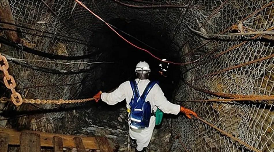 Fotografía del interior de la mina de East Rand