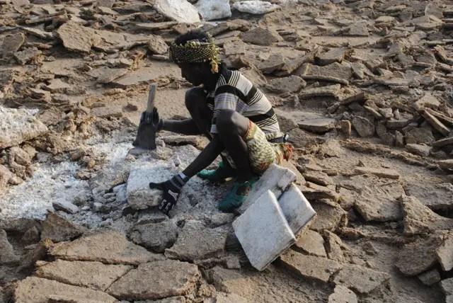 Fotografía de las minas de sal de Danakil.