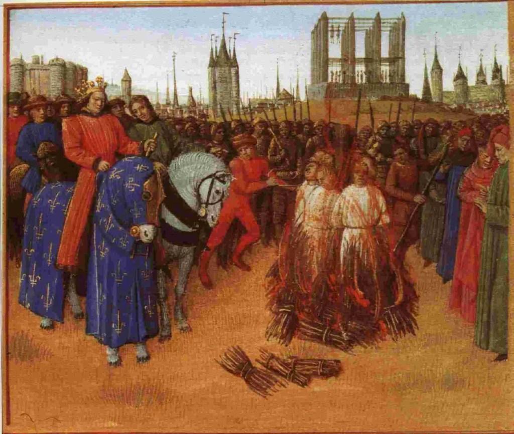 Iluminismo medieval de la quema de los temparios