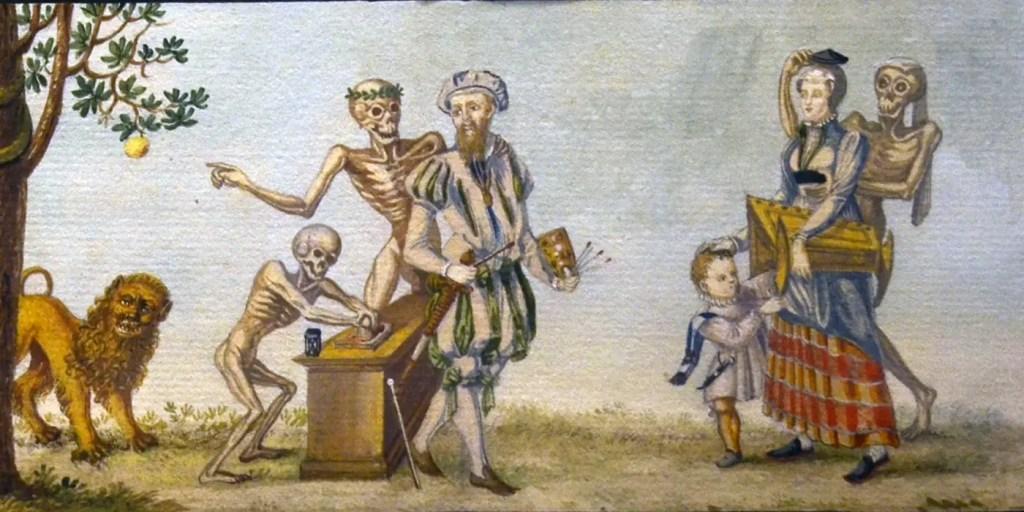 Ilustración del Totentanz o danza macabra.