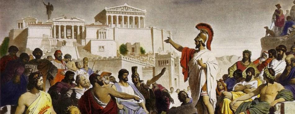 Pintura de Pericles dando oratoria.