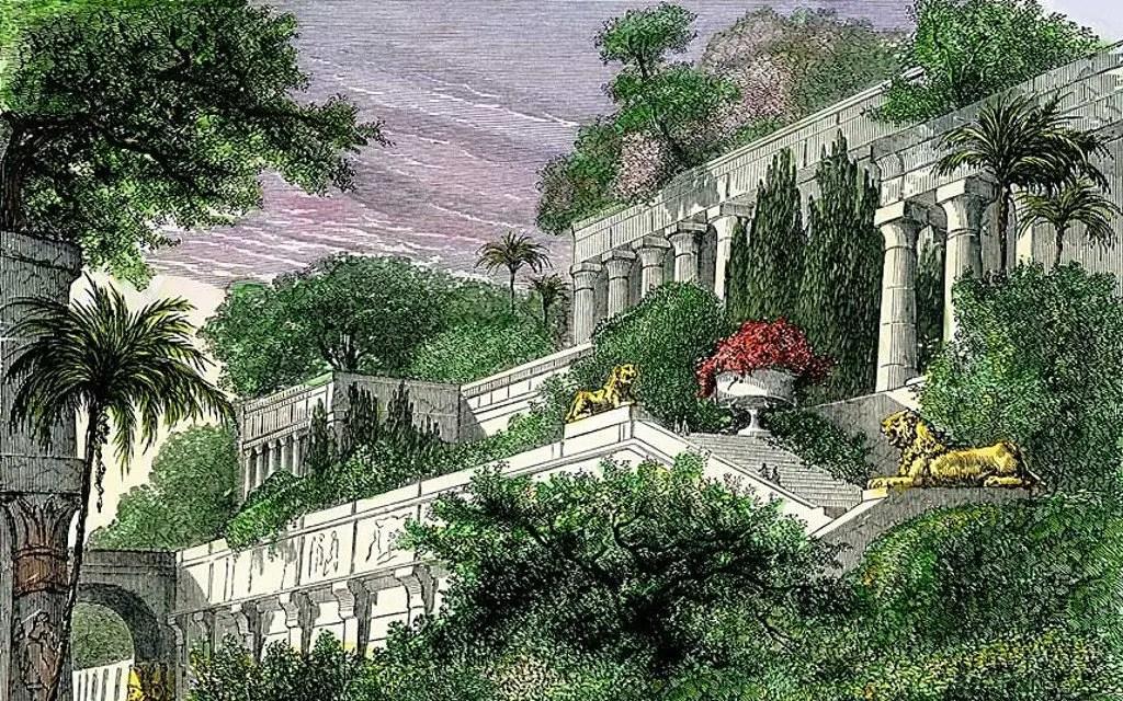 Ilustración de los jardines de Babilonia.