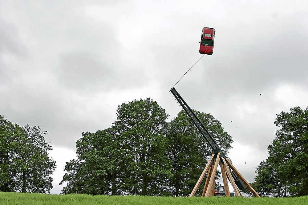 Fotografía de un Trebuchet gigante.