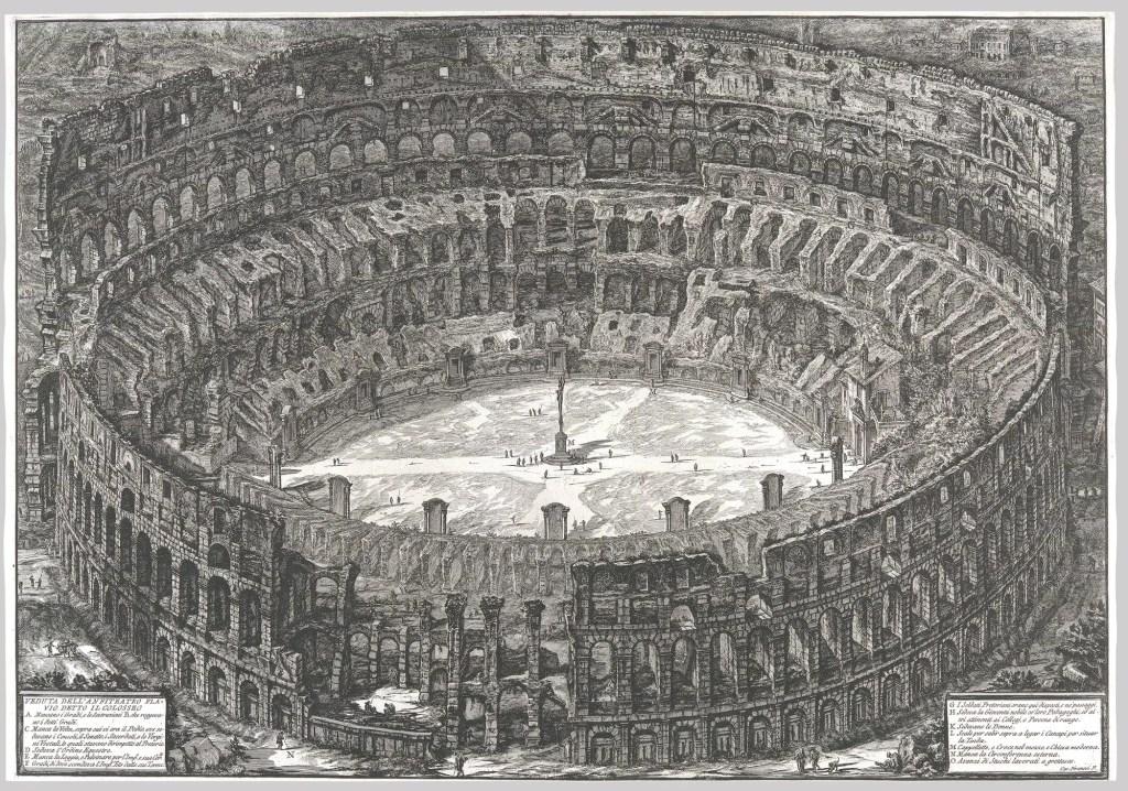 Ilustración renacentista del coliseo romano.