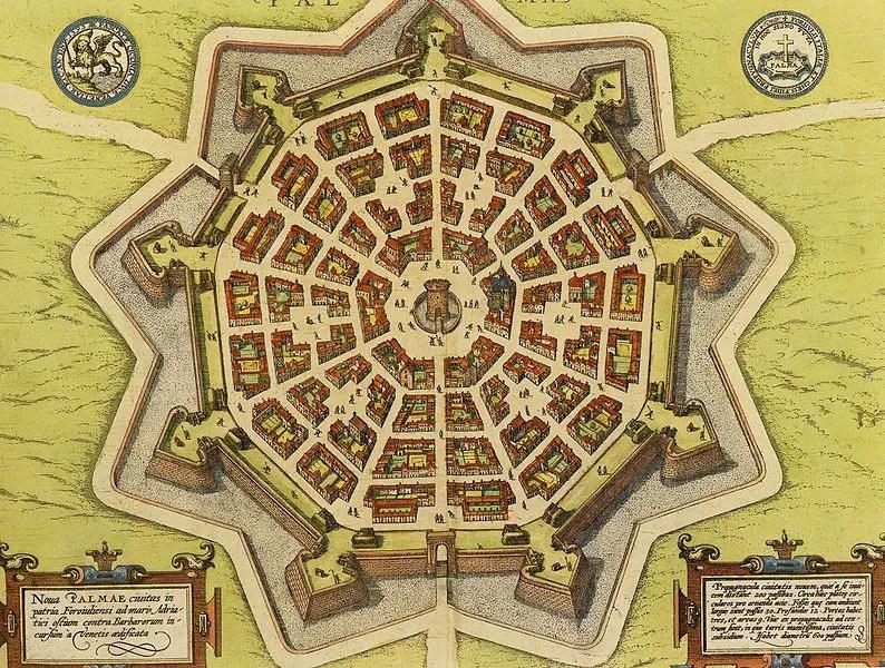 Mapa medieval de Palmanova.