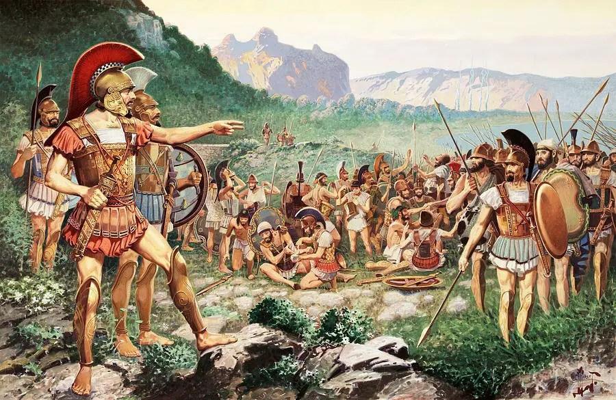Leonidas y sus tropas.