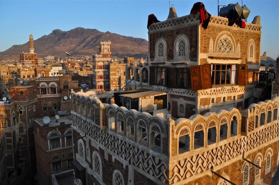 Fotografía de los edificios de San'a