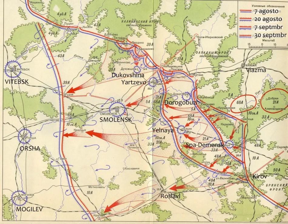 Mapa de la batalla de el Dniéper, 1943.