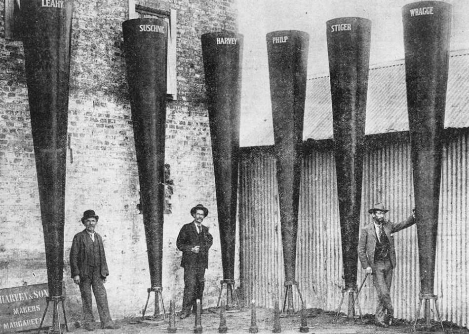 Varios cañones granifugos y sus nombres.