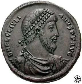 Fotografía de una moneda del emperador romano Juliano.