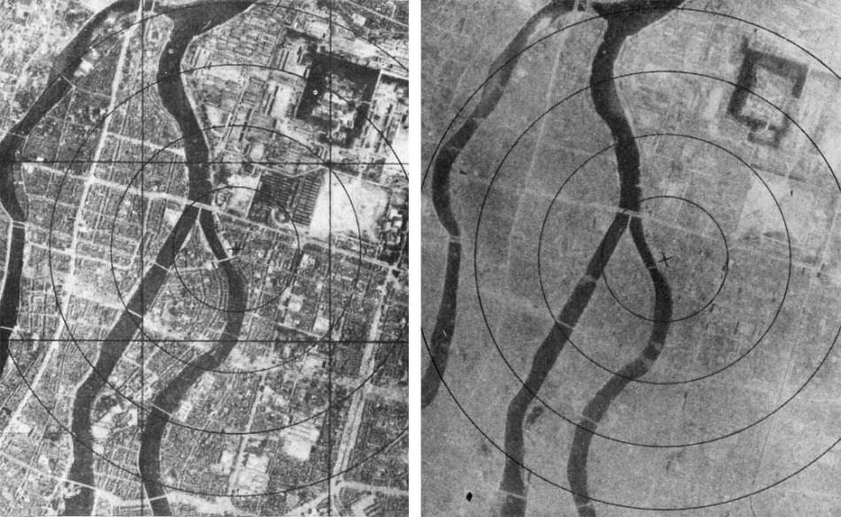 Fotografía de Nagazaki antes y después de la bomba nuclear.