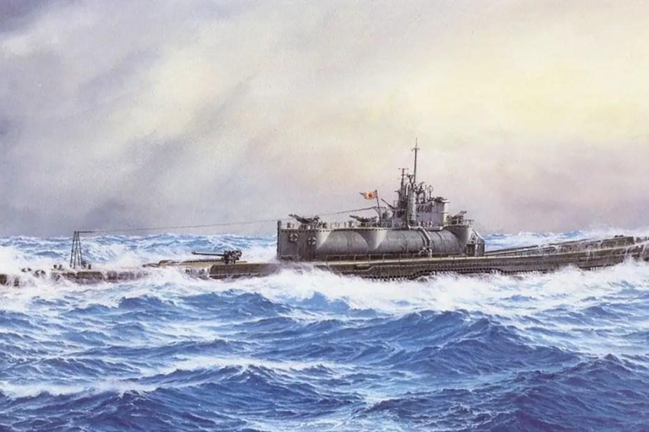 Ilustración de un submarino japonés I-400.