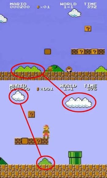 Supoer Mario arbusto y nube