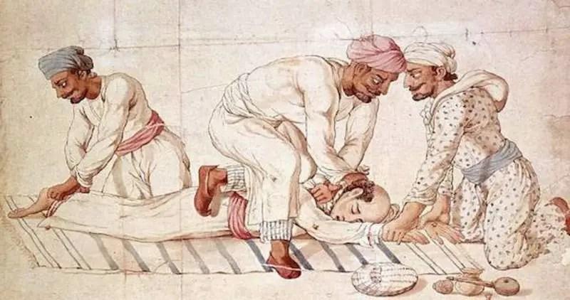 Ilustración antigua de los thugee.