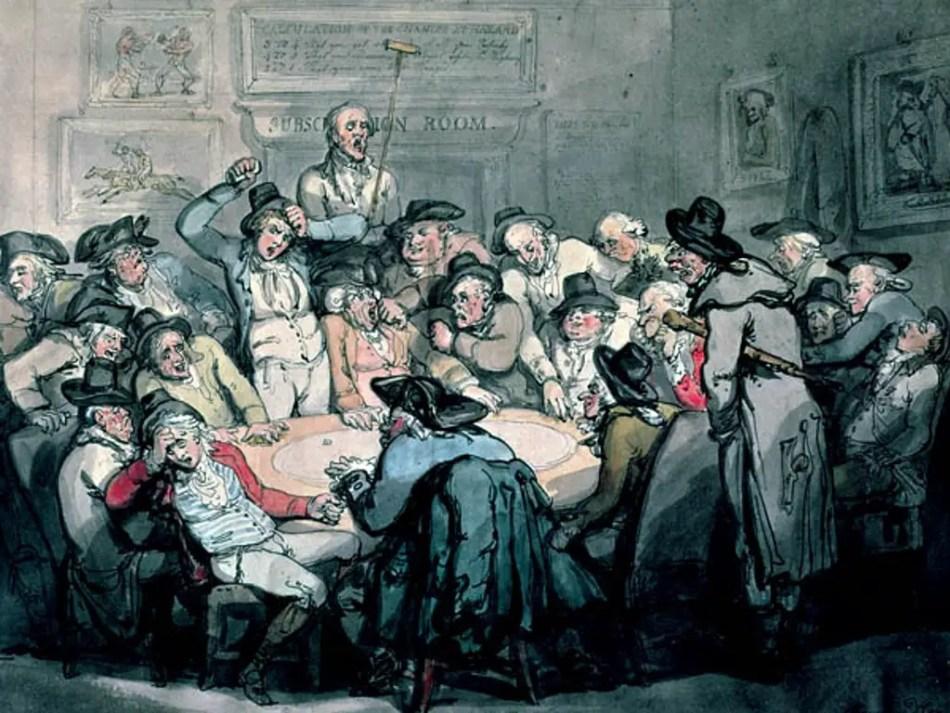 Ilustración de un salón de apuestas en el Londres.