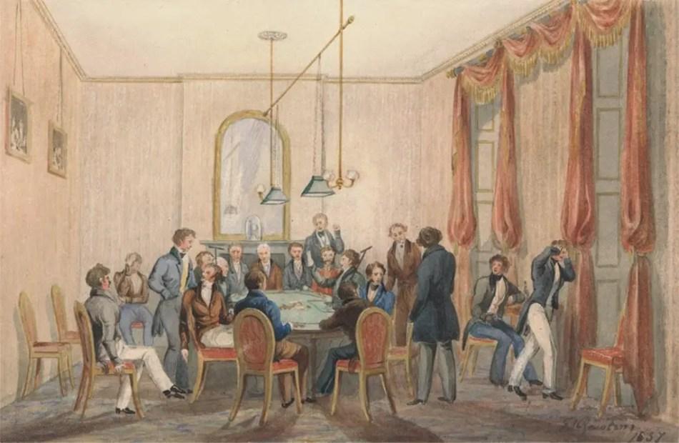 Ilustración del Crockford's club, el club de William Crockford.