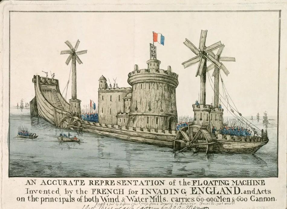 Ilustración de uno de los navíos que supuestamente iban a utilizar los franceses para invadir el Reino Unido.