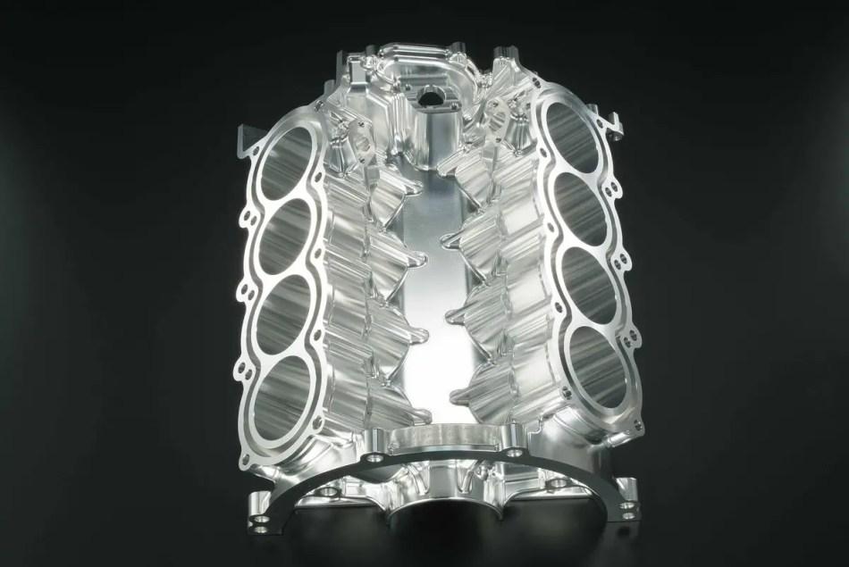 Fotografía del bloque de un motor V8.
