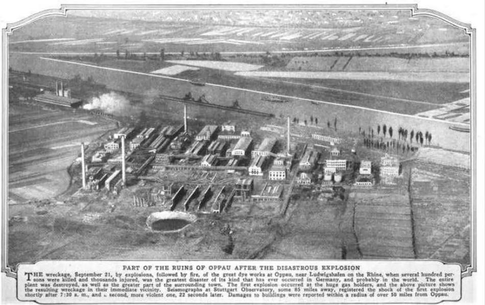 Vista aérea del desastre dejado por la explosión de Oppau.