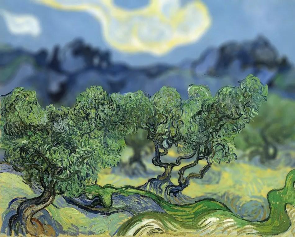 Detalle de una pintura de Van Gogh con tilt-shift.