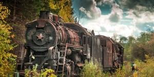 Cementerio de trenes en Shumkovo.