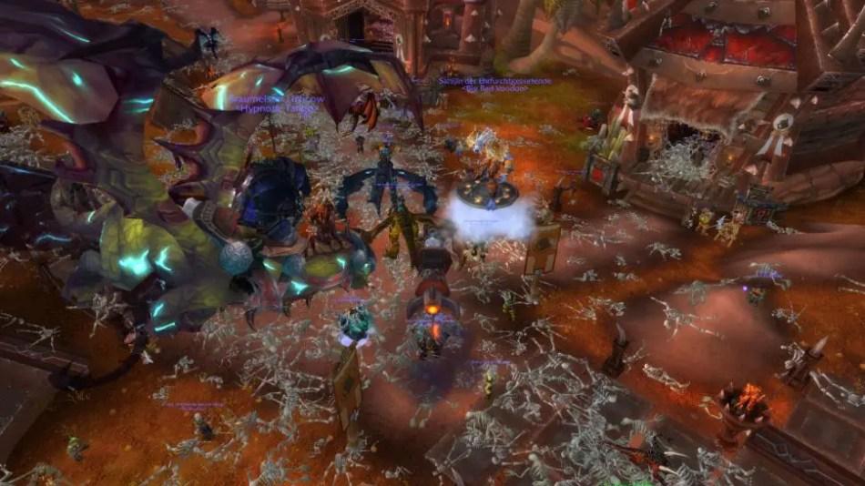 Captura del video juego World of Warcraft. y los resultados de Corrupted Blood.