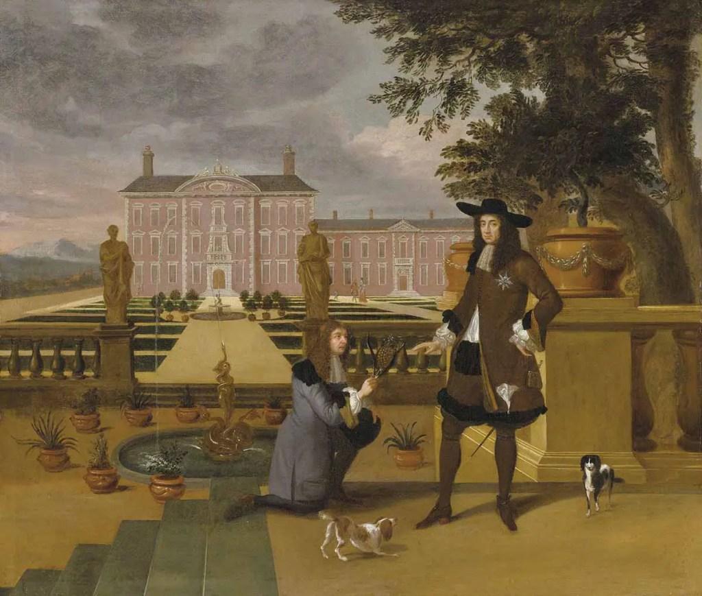Pintura en la cual vemos a John Rose arrodillado entregando una piña tropical al rey Carlos II como regalo.