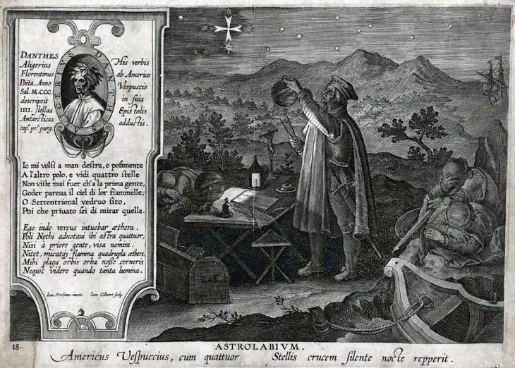 Grabado donde se ve a un hombre empleando un astrolabio.